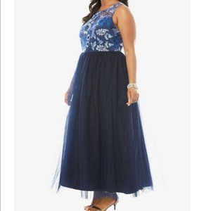 Roaman's Blue Embroidered Tulle Gown 14W NWOT!